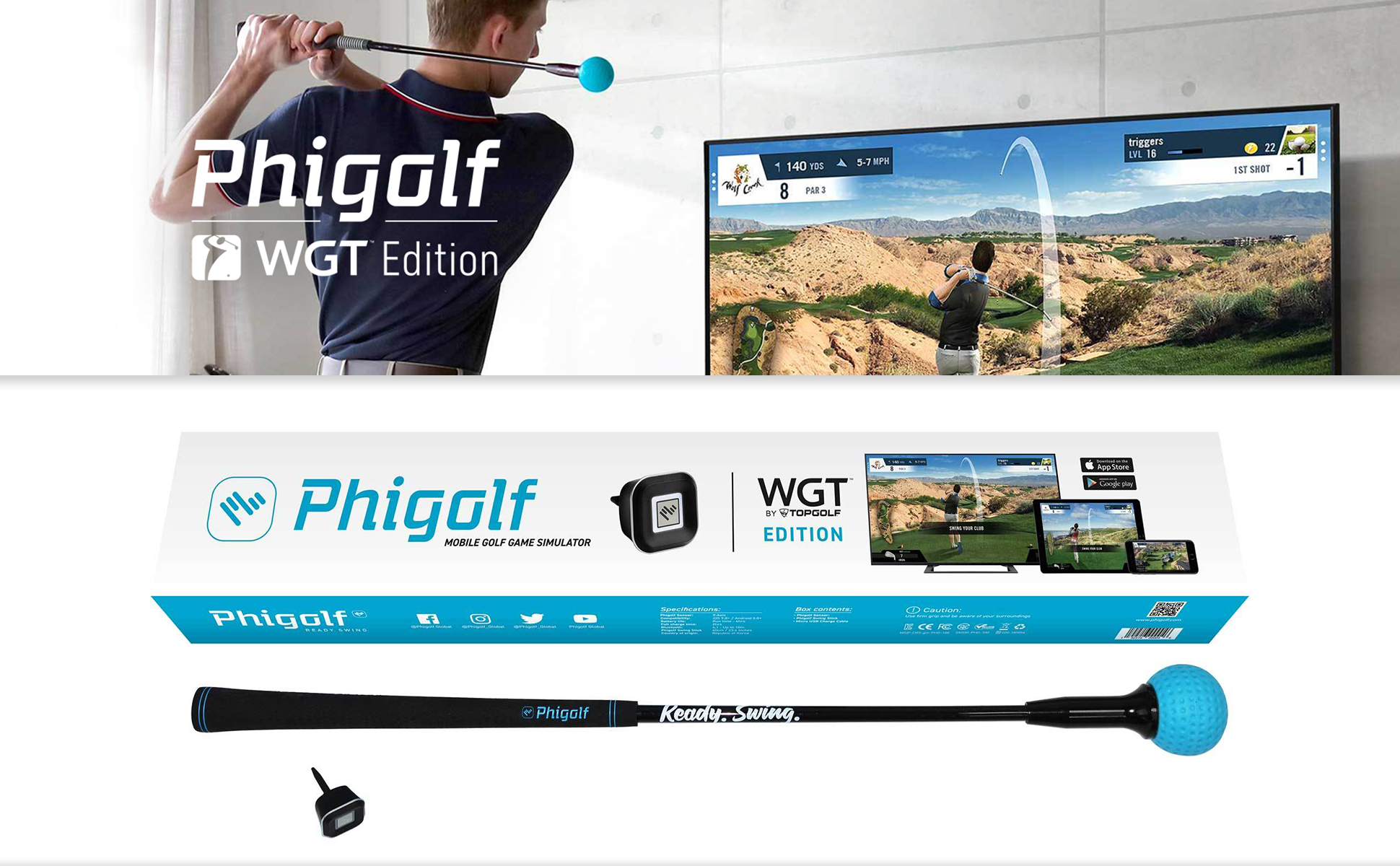 Phigolf Golf Game Simulator with Swing Stick - WGT Edition